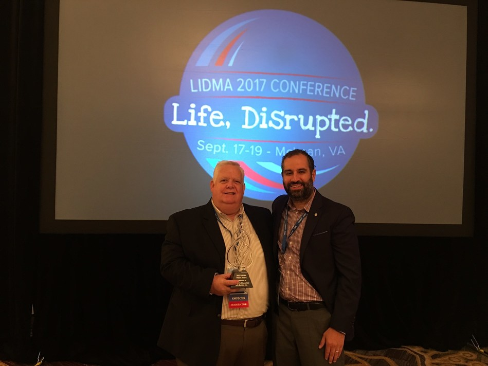 Robert Bland, CEO of Lifequotes.com, was presented with the 2017 LIDMA Vision Award by LIDMA President, Shervin Eftekhari,