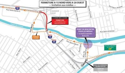 Projet Turcot à Montréal - Rappel - Fermeture de longue durée de la bretelle menant de l'autoroute 15 nord à l'autoroute 20 ouest (Groupe CNW/Ministère des Transports, de la Mobilité durable et de l'Électrification des transports)