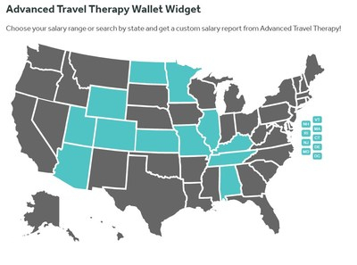 Screenshot of Advanced Travel Therapy Wallet Widget, a new web-based application that offers physical therapists, occupational therapists, and speech-language pathologists access to salary and state data previously time-consuming to find.