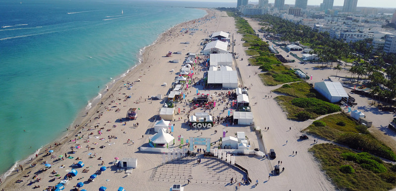 An aerial view of the Goya Foods' Grand Tasting Village featuring Mastercard Grand Tasting Tents & KitchenAid® Culinary Demonstrations at the 2017 Food Network & Cooking Channel South Beach Wine & Food Festival (Miami Beach, FL)
