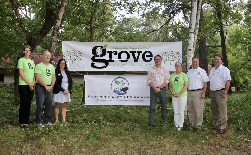 New partnership will advance project-based education in sustainability & environmental stewardship.  Pictured are board members from Footprint Earth Foundation and River Grove Elementary.