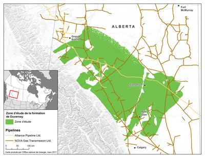 Emplacement de la formation schisteuse de Duvernay en Alberta (Groupe CNW/Office national de l'énergie)