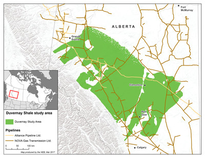 Location of the Duvernay Shale in Alberta and Canada (CNW Group/National Energy Board)