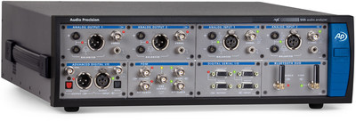 The APx Bluetooth Duo™ module, along with PDM and Digital Serial I/O modules, installed in the high-performance APx555 audio analyzer.