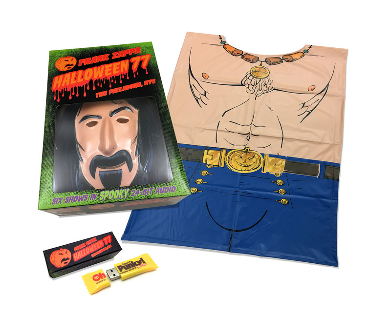 """Frank Zappa's legendary Halloween NYC 1977 residency to be released as massive """"Halloween 77"""" costume box set on October 20. Features 158 tracks on USB drive in 24-bit audio with retro Zappa mask and costume."""