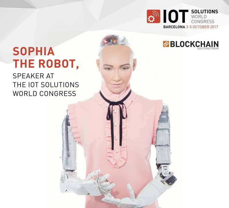 Sophia the Robot, speaker at the IoT Solutions World Congress