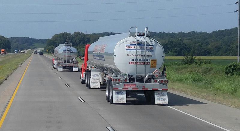 Dennis K. Burke fuel trucks heading home.