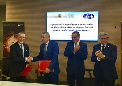 Signing of the agreement between Magneti Marelli and the Moroccan State for the building of an automotive production plant, which will produce shock absorbers in the first phase. From right to left: Pietro Gorlier, CEO of Magneti Marelli; Moulay Hafid Elalamy, Minister of Industry, investment, Trade and the Digital Economy of Morocco; Mohamed Boussaid, Minister of Economics and Finance of Morocco; Roberto Di Stefano, Head of Magneti Marelli Shock Absorbers. (PRNewsfoto/Magneti Marelli SpA)