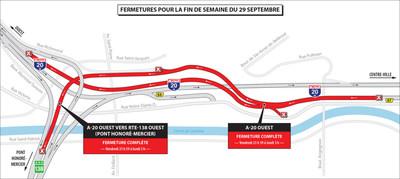 Projet Turcot - Fermetures dans le secteur des échangeurs Turcot et Saint-Pierre durant la fin de semaine du 29 septembre 2017. (Groupe CNW/Ministère des Transports, de la Mobilité durable et de l'Électrification des transports)