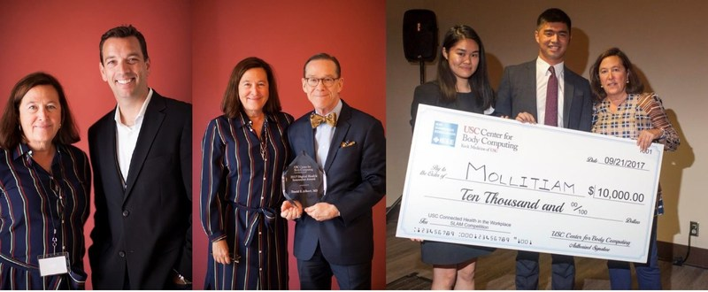 Dr. Leslie Saxon of the USC Center for Body Computing presents awards to (L to R): Robert Ford of Abbott, Dr. Dave Albert of AliveCor and SLAM competition winners, USC students Martin Shapiro and Sara Ma.