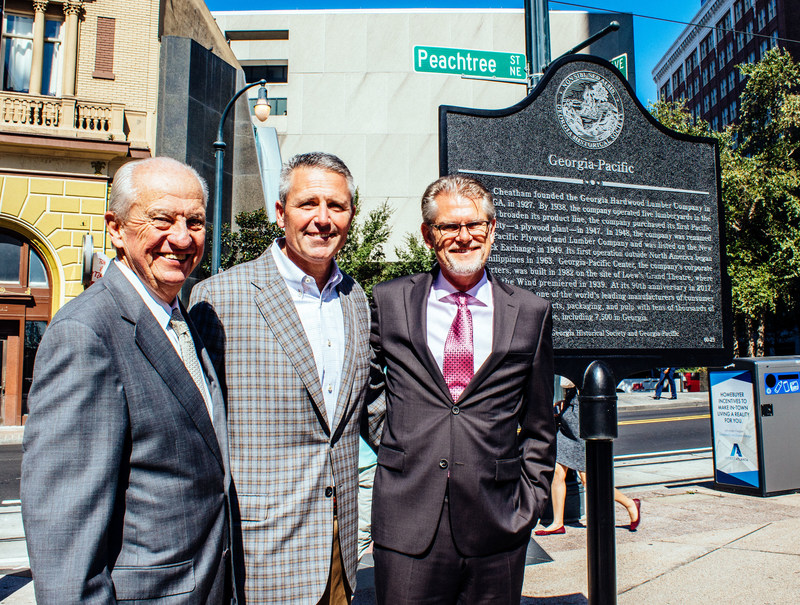 "The Georgia Historical Society recognized Georgia-Pacific with a historical marker highlighting the company's 90-year history. The marker sits outside the Georgia-Pacific Center headquarters building in downtown Atlanta. L to R:  A.D. ""Pete"" Correll, past chairman and CEO of Georgia-Pacific; Jim Hannan, immediate past president and CEO of Georgia-Pacific; Christian Fischer, president and CEO of Georgia-Pacific"
