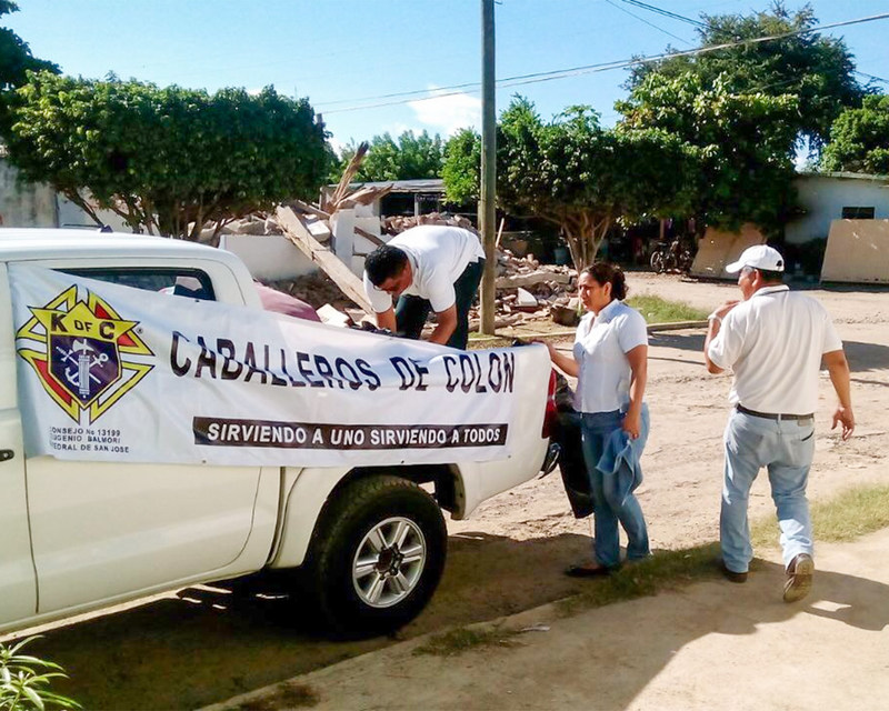 Earlier in the month, members of the Knights of Columbus in Coatzacoalcos, Mexico drove supplies to the town of Unión Hidalgo in Oaxaca, which was affected by the earthquake that preceded the one that struck Mexico City on Sept. 19.
