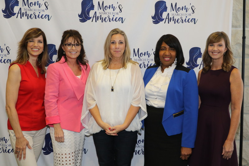 Sam Sorbo, Sarah Palin, Gold Star Mom Karen Vaughn, Candy Carson and Missy Robertson pause for photo before speaking at Mom's March for America