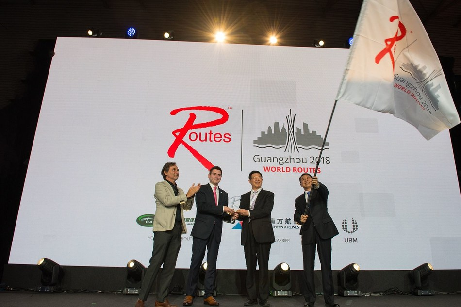 The World Routes handover to the Chinese city of Guangzhou, host of the 2018 event. (PRNewsfoto/Routes)