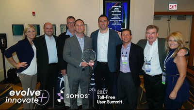 Rich Scanlon CEO of CSF, Chris Currie President of Aerialink, and the rest of the team pictured with the Tech Breakthrough of the Year Award at the Somos Toll-Free Users Summit in Chicago.