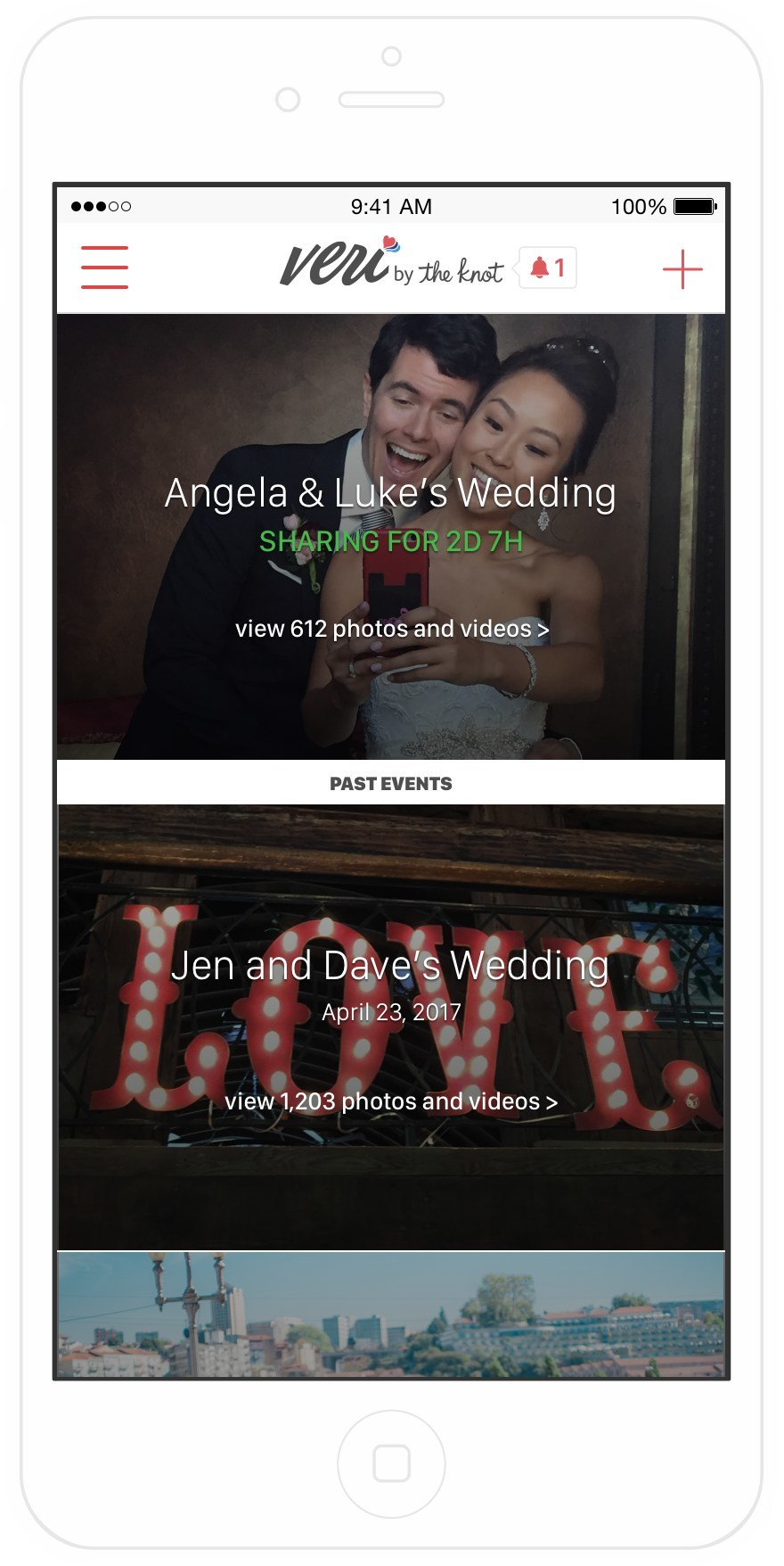 Veri, the first and only photo-sharing app focused on weddings and events that automatically shares photos from the user's built-in camera on their mobile device.