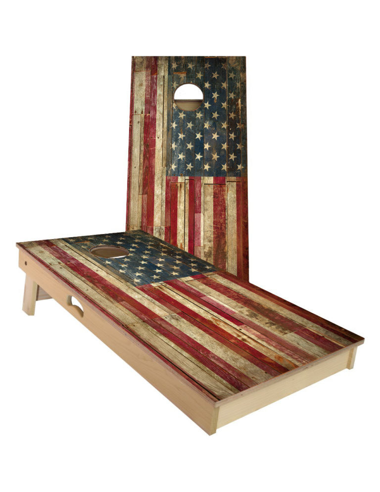 Official ACA-approved Cornhole boards with the classic American Flag image displayed.  Each board is handcrafted in the USA and meets all American Cornhole Association (ACA) regulations.