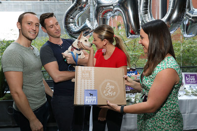 """I and love and you"" present recent Animal Haven Shelter adopted Pup of Honor with Chewy Gift Baskets at ""I and Love and You's"" Puppy Shower Event"