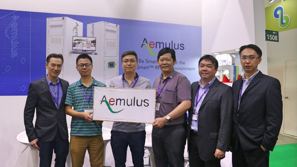 The Launch of AM7600-S at SEMICON Taiwan 2017 on September 14th. Pictured from left to right: Sang Beng Ng, CEO of Aemulus; Omily Ouyang, Vice President of HunterSun Electronics; Jerry Li, IC TEST Director of JCET; Chee Seng Chong,  Final Test Department Manager of Carsem (Suzhou); Sean Lin, East Asia General Manager of Aemulus; E Chiang Tan, Senior Marketing Director of Aemulus.