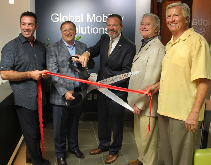 Global Mobility Solutions ribbon-cutting ceremony. (from left to right) Rich Ganley, GMS Founder, Board Member; Steven Wester, GMS President and Board Member; Jim Lane, Mayor of Scottsdale; Mark Hiegel, President & CEO of Scottsdale Chamber of Commerce; Steve Ziomek, GMS Founder, Designated Broker, and Board Member.
