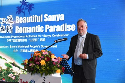 Rito Nielson, secretary-general of Danish-Chinese Business Forum, delivering a speech at The Sanya Celebration roadshow