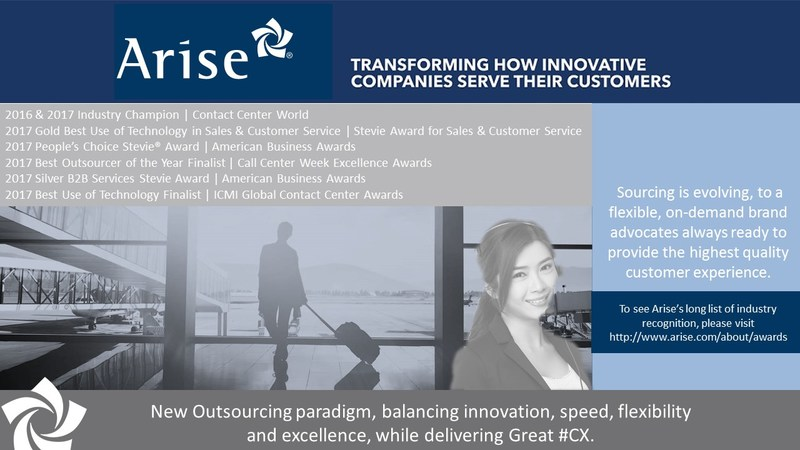 Arise is transforming the way innovative companies serve their customers, and the industry continues to recognize Arise and its people for their innovation.