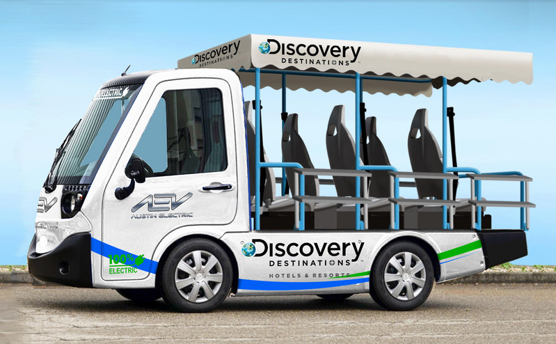 Co-branded rendering of Austin Electric Vehicle's Metro People Mover for Discovery Destinations.