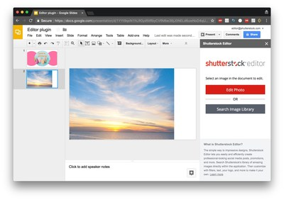 Shutterstock Launches Image Editing and Licensing Capabilities into Google Slides (PRNewsfoto/Shutterstock, Inc.)
