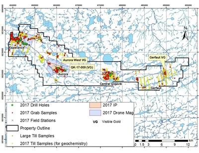Figure 1 : Localisation des levés et des échantillons prélevés dans le cadre du programme d'exploration 2017 (source : rapport technique conforme au Règlement 43-101 sur le projet Qiqavik, Nord du Québec, Canada, daté du 18 septembre 2017). (Groupe CNW/RNC Minerals)
