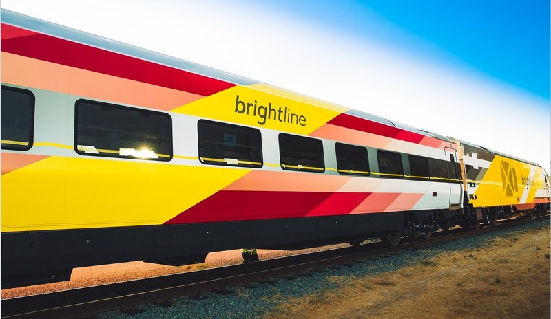The fifth Brightline trainset traveling cross country to South Florida
