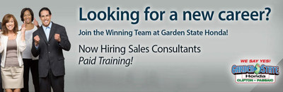 Garden State Honda is looking to hire qualified candidates ready to start a new career in automotive sales.