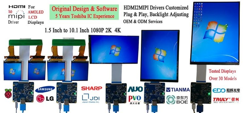 "1.5"" to 10.1"" 1080P, 2K & 4K AMOLED LCD Displays"
