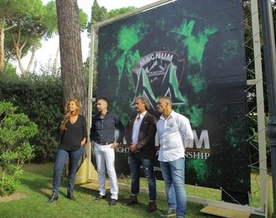 Patrizia Marin, Max Baggio, Bruno Verdirosi e Michele Verginelli presenting the new 2017/18 season of MAGNUM FC. (PRNewsfoto/MAGNUM FC)