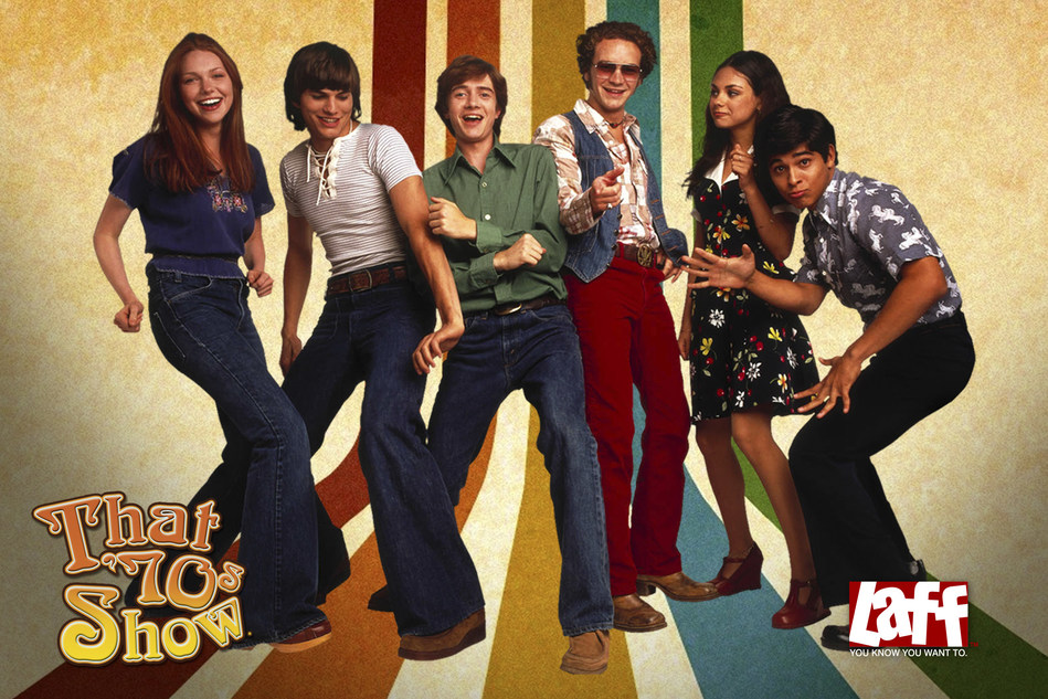 That '70s Show is now seen weeknights at 7:00 p.m. (ET) with four episodes back-to-back on Laff, the country's first-ever, over-the-air broadcast television network devoted to comedy around-the-clock. The multiple EMMY-winning series focuses on the lives of a group of Wisconsin teenage friends in the disco decade and helped its stars including Ashton Kutcher, Mila Kunis and Topher Grace become household names. Visit Laff.com for local channel location and more information.