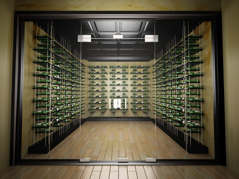 Midnight Black Modern Wine Cellar