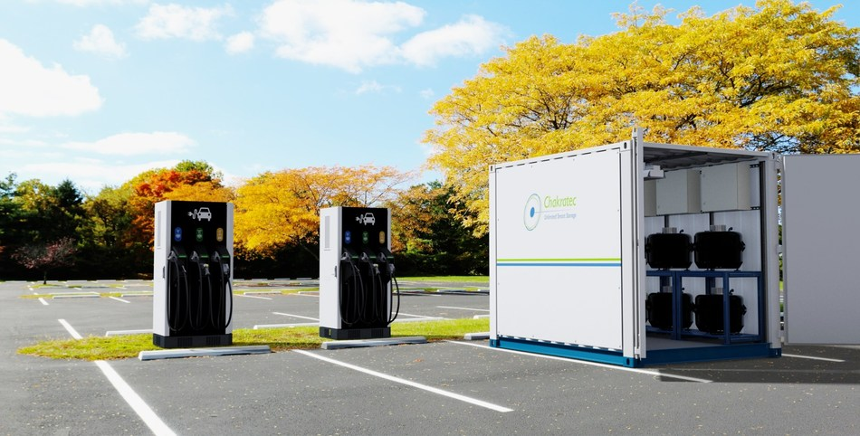 DBT-CEV Fast Charging Station combined Chakratec's Kinetic Power Booster (PRNewsfoto/Chakratec and DBT-CEV)