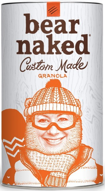 """Bear Naked Custom Made® Granola announced the addition of an unbearably fun feature to its direct-to-consumer platform, www.BearNakedCustom.com. Visitors can now """"bearify"""" a photo of themselves or a friend, donning accessories like mustaches, hats, wigs and more. They can also customize their own back-story and name the blend. Each creation is individually printed (and hand-blended) and shipped directly to the consumer."""