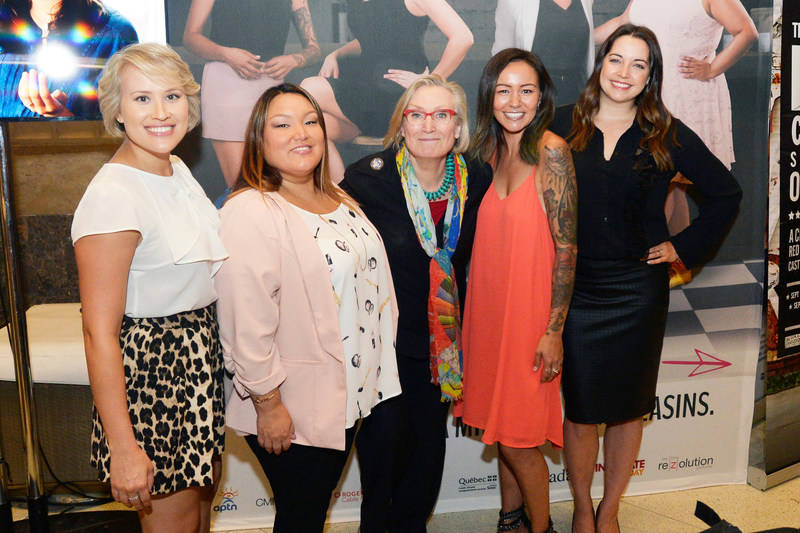 Brittany Leborgne, Heather White, The Hon. Carolyn Bennett, Minister of Crown-Indigenous Relations and Northern Affairs, Maika Harper and Jennifer Pudavick (CNW Group/CANADA MEDIA FUND)