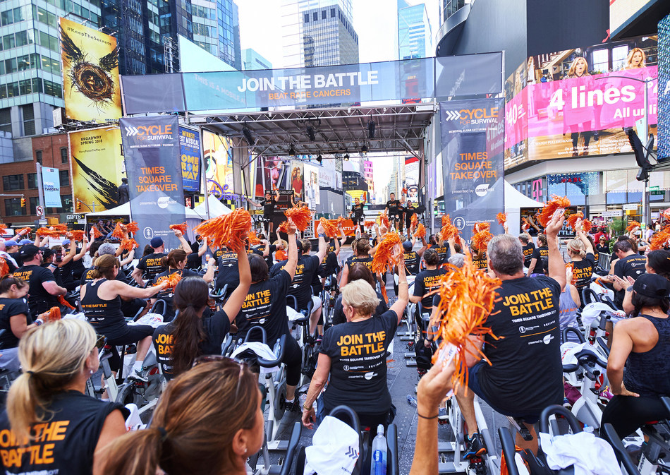 The Cycle for Survival community rides together in Times Square to raise awareness about the fight to beat rare cancers on September 27. The Times Square Takeover, presented by smartwater, featured more than 100 bikes and heart-pumping music at the all-day event. (Photo Credit: Jennifer Pottheiser, Cycle for Survival)