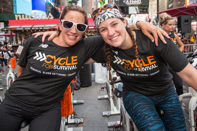 Riders at Cycle for Survival's Times Square Takeover celebrate the launch of registration and fundraising for Cycle for Survival's 2018 signature events. Every participant received an exclusive event T-shirt provided by New Balance, Cycle for Survival's official apparel sponsor. (Photo Credit: Michael J. Le Brecht II, Cycle for Survival)