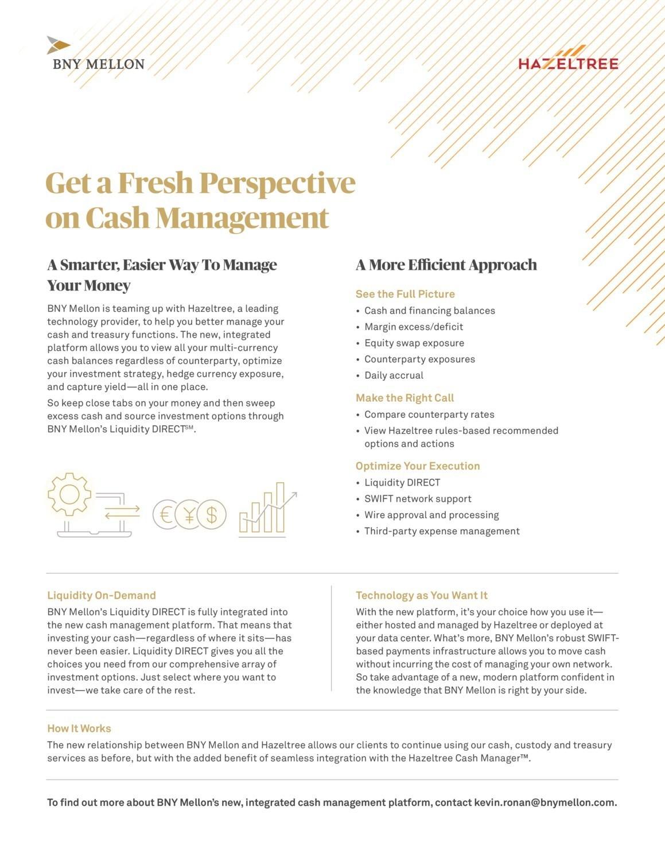 BNY Mellon-Hazeltree cash management solution facts
