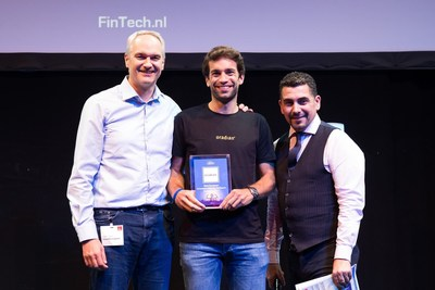Oradian co-founder Julian Oehrlein on stage at the European FinTech event in Brussels accepting the award for Europe's Most Innovative Banking Software (PRNewsfoto/Oradian)