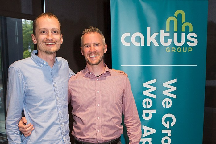 Caktus Group co-founders Colin Copeland and Tobias McNulty celebrate the company's 10th anniversary.