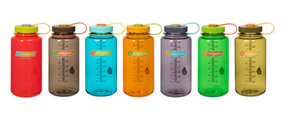 """Nalgene Outdoor introduces the """"Inspired by Nature"""" bottle collection to its classic-style Made-in-USA, 32-ounce Wide Mouth bottle. Designed by a Pantone expert, the seven new bottles use vivid, natural colorways across key parts of the classic wide mouth bottle. The result is a playful new design created to delight Nalgene enthusiasts in the gym, cafeteria, or on the trail."""