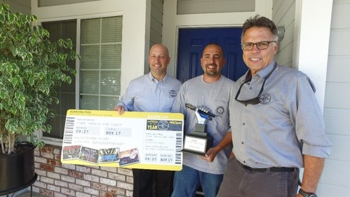Pictured left to right: Greg Palese, vice president of marketing at Klein Tools, Jimmy Ferris, Klein Tools' Electrician of the Year, Barnaby, host of Klein Tools' Tradesman TV