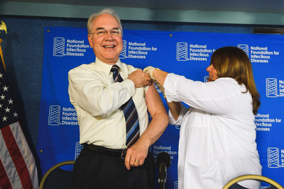 U.S. Secretary of Health and Human Services Thomas E. Price, M.D. rolls up his sleeve for his annual flu shot at the National Foundation for Infectious Diseases (NFID) annual Influenza/Pneumococcal News Conference. The Centers for Disease Control and Prevention (CDC) recommends that all individuals age 6 months and older get vaccinated against influenza each year. (PRNewsfoto/National Foundation for Infecti)