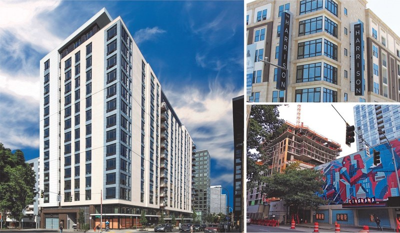 The Molasky Group is developing mixed-use properties that will bring apartment units, hotel keys and retail spaces to multiple markets including (clockwise from left) Sky 3 in downtown Portland, The Harrison in Glendale, CA and Arrivé in historic downtown Seattle.