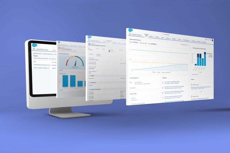 Screenshots of Salesforce's nonprofit version.