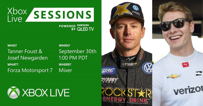 Professional drivers Tanner Foust and Josef Newgarden will join Xbox Live Sessions to play Forza Motorsport 7 on September 30 at 1 p.m. PST.