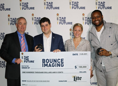Bounce Imaging (Buffalo, NY) is announced as the 2017 Miller Lite Tap the Future grand prize winner at MillerCoors headquarters in Chicago. Pictured L to R: Gavin Hattersley (MillerCoors), Franciso Aguilar (Bounce Imaging), Alexandra Webber (MillerCoors), Steve Canal (MillerCoors).